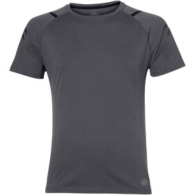 asics Icon Jersey korte mouwen met doorlopende rits Heren, dark grey heather